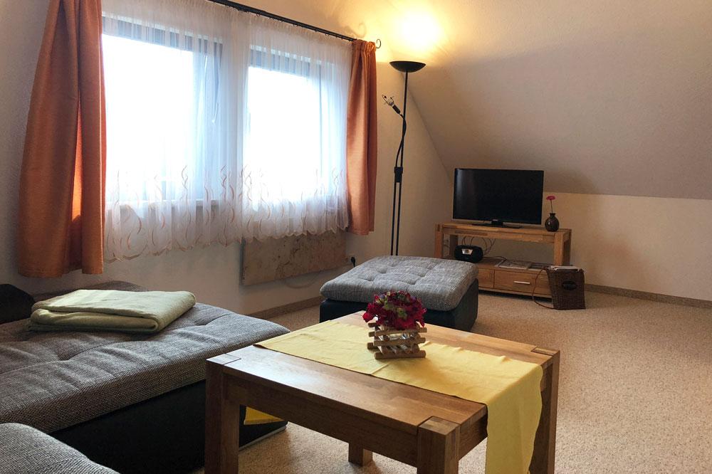 Ferienhaus Wohnbereich mit TV